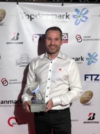 Anders Skorstensgaard med prisen for Årets værksted 2017. Mon Skorstensgaard også nomineres til Auto Awards 2018?